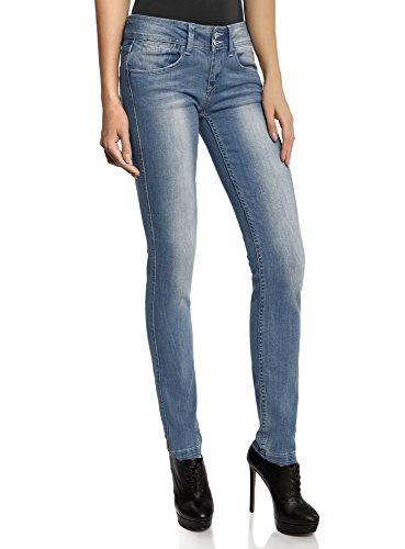 oodji Ultra Donna Jeans Slim Fit a Vita Bassa, Blu,