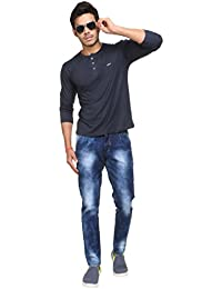 Dadddy's Style Men's Ripped Slim Fit Straight Moscowtic Jeans Pants Vintage Style With Narrow Fit