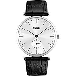 Fashion Business Small Seconds Leather Strap Quartz Wrist Watch For Couple,Silver-Black