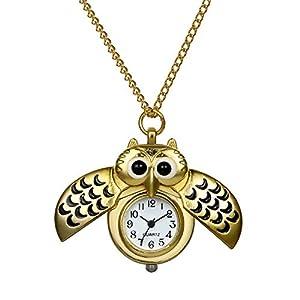 Avaner Eulen Taschenuhr für Damen Frauen und Herren Analog Quarz Kettenuhr Lovely Pocket Watch mit Halskette als Weihnachten Geschenk