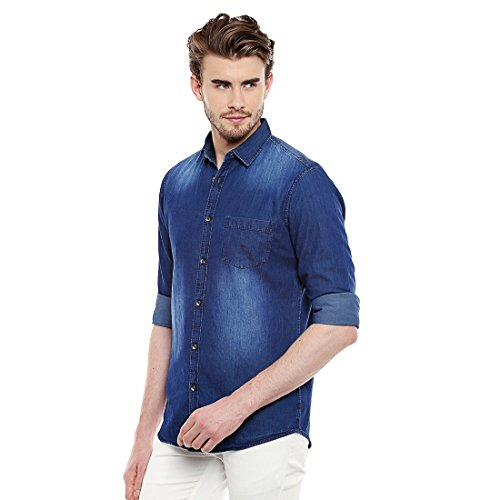 Dennis Lingo Men's Denim Dark Blue Solid Casual Shirt C502_DARKBLUE_M