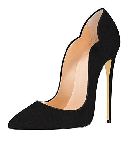 EDEFS Damen Pumps Spitze Zehen High Heels Stiletto Klassisch Party Kleid Schuhe Schwarz EU41 -