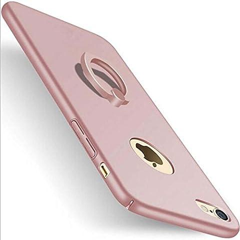 Support de téléphone avec support de support à anneau rotatif à 360 degrés, Ultra rigide, protecteur de luxe, téléphone de luxe, mat, soyeux, lisse, ordinateur portable, pare-chocs, téléphone, coquille, amortisseur, anti-égratignures, étui de téléphone cellulaire transparent pour iPhone / 6s / 6/7 Plus. ( Color : Rose gold , Edition : Iphone7 plus )