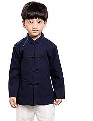 zooboo Boys Artes Marciales Rendimiento Outfit Kung Fu de manga larga Tang Tops, Infantil, color Azul - azul oscuro, tamaño 140