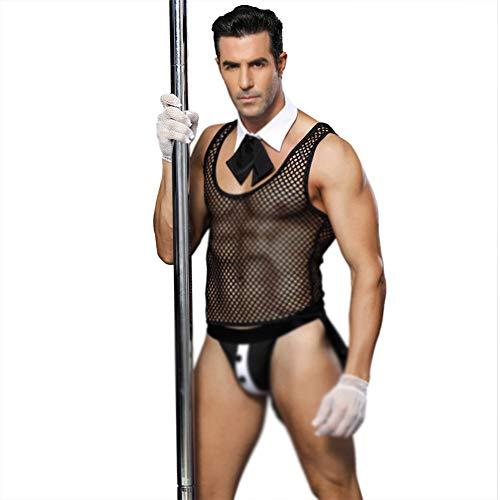 GQMG Sexy Dessous für Männer Sex Unterwäsche,Netz Fischnetz Kleidung Sexy Kurzarm Perspektive Männlichen Diener Dessous Appeal Uniform (Männliche Rollenspiel Kostüme)