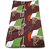 """ewtretr Asciugamani Viso-Mani,Cane Corso Wth Italian Flag Microfiber Beach Towel Large 11.8""""X27.5"""" Towels, Best for Outdoor, Sports, Travels, Quick Drying And Super Absorbent Technology"""