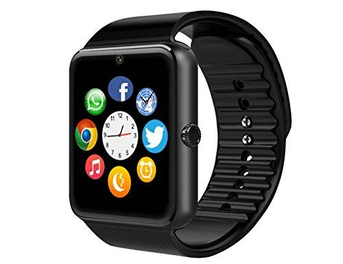 smartwatch Bluetooth Andriod Smartphone Bracciale con telecamera Touch screen supporto SIM/TF per Android Samsung HTC LG Huawei Sony Orologio Sportivo(Nero)