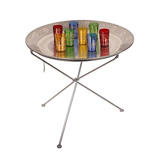 albena shop 73-125 Faiz mesa de té oriental mesa plegable con bandeja ø 60cm incluyendo 8 vasos de té