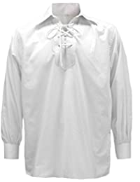 Tartanista Chemise Ghillie/Jacobite - blanc - S, M, L, XL, XXL