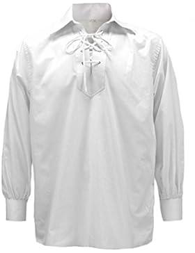Tartanista Camicia giacobina tradizionale scozzese Ghillie - Bianco
