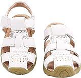 Gaatpot Unisex Niños Sandalias con Punta Cerrada Niña Niño Zapatos Sandalias de Vestir en Cuero Zapatillas Verano Blanco 22.5 EU/22 CN