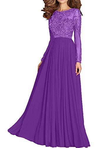Charmant Damen Dunkel Gruen Chiffon langarm Pailletten Abendkleider Ballkleider Partykleider A-linie Rock Violett