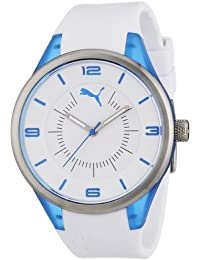 Puma Motorsport Fusion - Small Unisex Quartz Watch with White Dial Analogue Display and White Plastic or PU Strap PU911002003