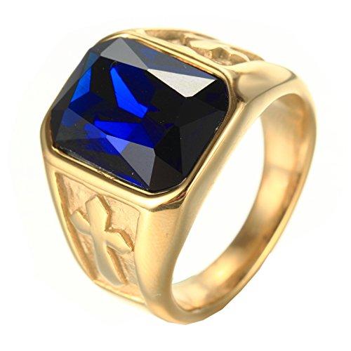 PMTIER Herren Edelstahl Jahrgang Gold Kreuz Erklärung Ring mit Blau Stein Größe 70 (Ring Blau Gold Stein Männer Für 14k)