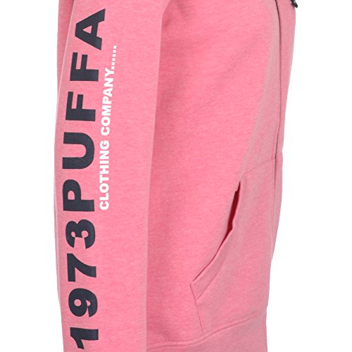 Puffa - Damen Hoodie - Durchgehender Reißverschluss Rosa Meliert