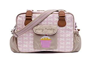 Pink Lining Yummy Mummy Bag Pansies - Cream Bows on Pink from Pink Lining