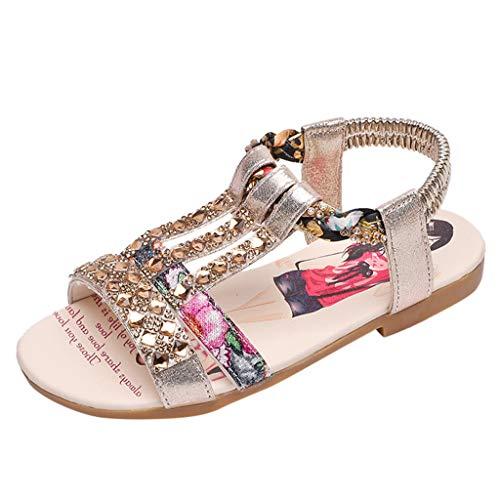 Fenverk Kinderschuhe MäDchen Sandalen Kindersandale Geschlossene Leder Innensohle Sandale Sommer Sandaletten Lauflernschuhe Schuhe(Gold,31) - Stretch-band-sandale