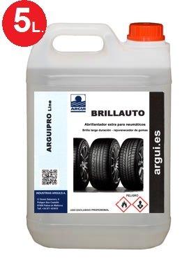 Brillauto 5 litres. Brillant et rénovateur professionnel pneus et plastiques intérieurs et extérieurs. Nourrit et embellit la peau et skaï .
