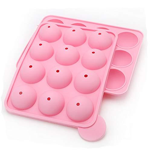 Backform, DIY 12 Loch Lutscher Lebensmittel Qualität Silikonform Sphärische Schokolade Kristall Lutscher Eiswürfel Backform Hohe Temperatur Geeignet Für Backofen Mikrowellenherd,Pink