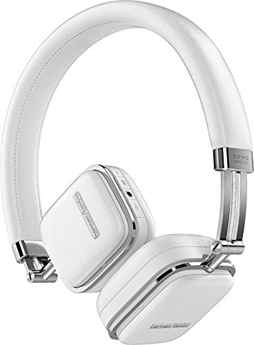 Harman/Kardon Soho Cuffie in Pelle, Pieghevoli, Sottili - Bluetooth/NFC/Wireless e Custodia da Trasporto - Compatibile con Apple iOS, con Android e Dispositivi MP3 - Bianco