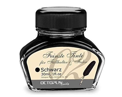 Füllhaltertinte im Tintenglas, Schreibtinte für Füllhalter, Füllertinte in Schwarz 30ml im Tintenfass, Kalligraphie Tinte