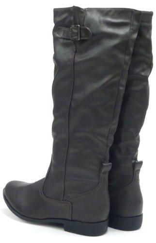 Klassische Damen Stiefel leicht gefütterte Reiterstiefel Boots Braun