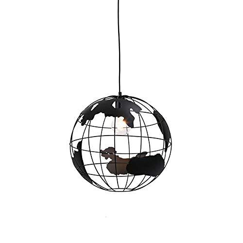 Vintage industriales lámpara colgante E27, Globo Terráqueo–Lámpara de techo retro Hierro Loft Candelabros Altura Regulable LED de techo para salón comedor restaurante Sótano Cafe Bar