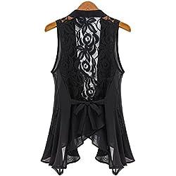 FeiXiang - Chaleco de gasa para mujer con cierre de encaje largo, asimétrico, plástico, negro, xx-large