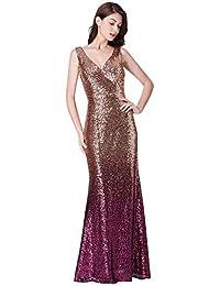 Ever-Pretty Vestidos de Fiesta Noche para Mujer Vestido de Cuello V Elegantes  Vestido de c4fe5013abfd