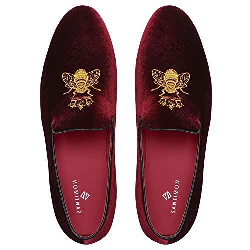 Herren Mokassin Slipper Loafer Schuhe Slip-on Fahrschuhe Halbschuhe Flache Fahren Hausschuh Rot 44