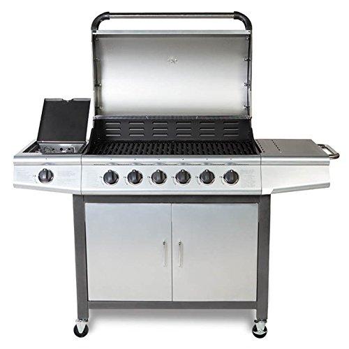 41YhDdIllXL. SS500  - FirePlus™ 6+1 Gas Burn Grill BBQ Barbecue w/Side Burner & Storage - Silver Grey