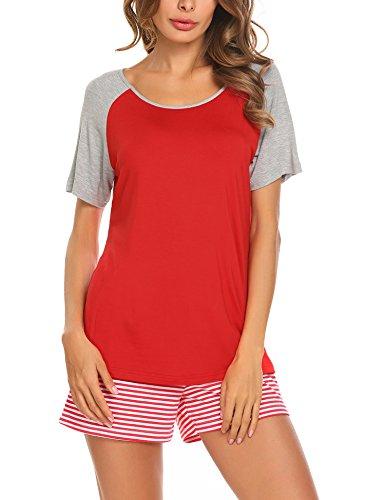 Unibelle Schlafanzug Damen Kurz Pyjama Shorty Nachtwäsche Set Kurzarm Shirt und Shorts (Damen Modal Pyjama-sets)