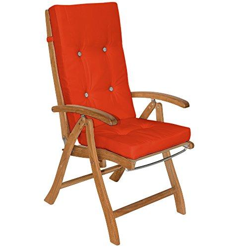 Detex® Stuhlauflagen Vanamo | Befestigungsschlaufen 6er Set | Auflage Hochlehner Sitzauflage Stuhlkissen Kissen Orange