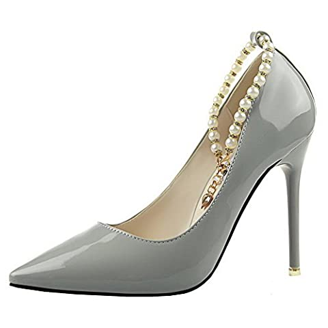 AgeeMi Shoes Women's Solid Spikes-Stilettos Buckle Pumps-Shoes with Jewels, Gray-Patent Leather, 37