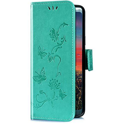 Uposao Kompatibel mit Sony Xperia XA3 Hülle Brieftasche Handyhülle Schmetterling Blume Leder Schutzhülle Wallet Flip Book Case Handytasche Ständer Ledertasche Kartenfächer Magnet,Grün