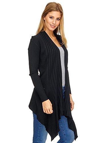 Jillymode Elegante Damen Langarmshirts Pullover OneSize A1062 A1062-Schwarz