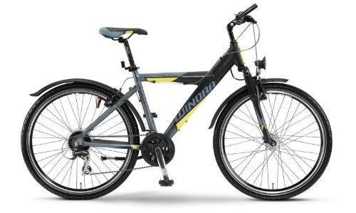 Winora Blaster Y MTB - Jugend Mountainbike - Rad 26 Zoll, 24-Gang Bike anthrazit/schwarz/gelb RH 46