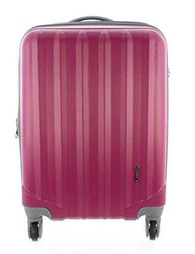 100% ABS Hartschalen Koffer / Trolley mit 4 Rollen und Zahlenschloss, Pianeta Serie Ibiza (L (65cm), Berry)