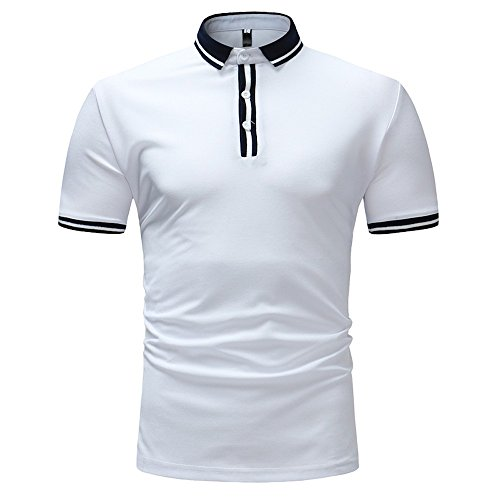 LANSKRLSP Polo Uomo Elegante Fashion Maglietta Uomo Slim Fit Shirt A Manica Corta Business Top Tee Striped Felpe Pullover Top