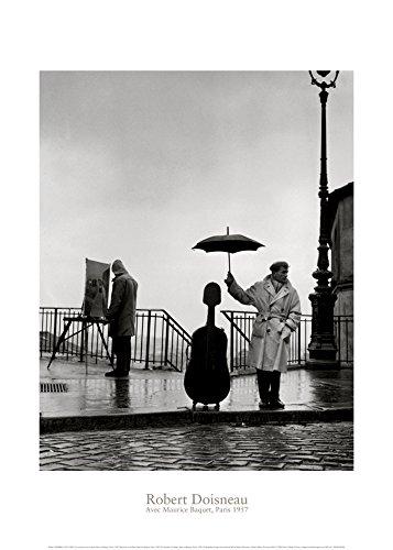 Neue imagesaffiche 50x 70cm EIN Musiker unter Regen, Maurice Baquet, Paris, 1957/Musician in the Rain, Maurice Baquet, Paris, 1957/Ein Musiker im Regen, Maurice Baquet, Paris, 1957