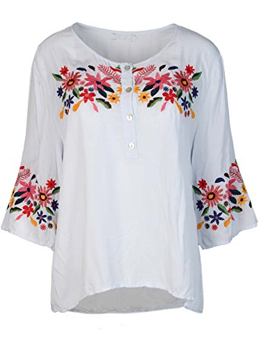 Tunika Blumen /& Federn Bluse Manschetten Hemd 38 40 42 NEU Italy Mode