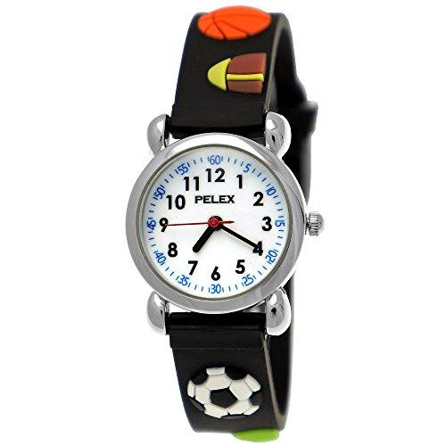 Pelex London Kinder-Uhr Jungen-Uhr Mädchen-Uhr für Kinder Silikon-Kautschuk Armband-Uhr Uhr mit 3d Fußball Basketball Tennis-Ball Rugby Motiv Schwarz