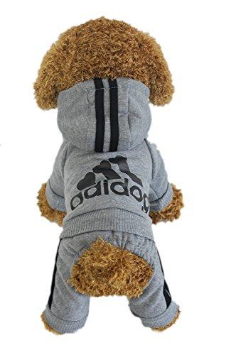 Zehui Haustier Hund Warmen Vier Beine Hoodies Welpe Pullover T-shirt Kleidung Winter-Pullover Bekleidung Grau XXL - 5