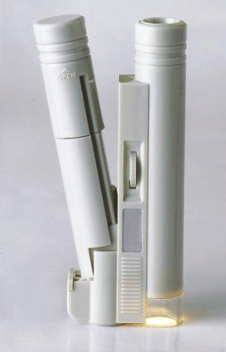 GOLDIFLORA OPTICS - MG 10085-1A - TASCHEN-MIKROSKOP MIT FADENKREUZ MESS-SKALA (minimum - 0,05mm - 4mm - maximum) - 40x FACHE VERGRÖSSERUNG MIT LED Licht - BETRIEBSFERTIG MONTIERT - INKLUSIVE 1x MIKROFASERTUCH - 1x REINIGUNGSSET + 1x TASCHENLAMPE MIT 9 LED inkl. Batterien - GRATIS ZUBEHÖR IM UVP-WERT VON 11,95 Euro