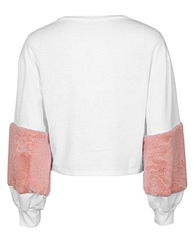 LANISEN Damen Langarm Rundhals Kurz Pullover Sweatjacke Sweatshirt S-XL Rosa