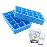 Indeedshare Silicone Ice Cube Trays,Makes 15 Perfect 3.2cm Cubes,Great Molds for Ice, Candy, Cake, Chocolate(Pack of 2)