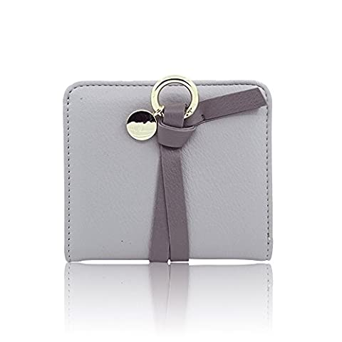 Woolala Women Contrast Color Ring Short Wallet Bifold Small Purse Card Holder, Grey