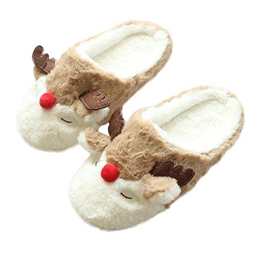 Scrox 1 Paar Nette Baumwolle Slipper Gummi Rutschfest Frauen Winter Innen Schlafzimmer Hausschuhe Weihnachten Elch Plüsch Hausschuhe Frauen Mädchen Weiche Sohle Comfy Haus Schuhe size 40-41/26CM