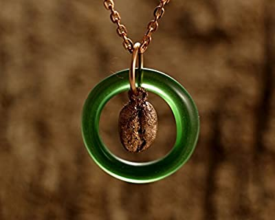 Irish Coffee Necklace - Recycled Jameson Irish Whiskey Bottle Pendant and Copper-Coated Espresso Coffee Bean