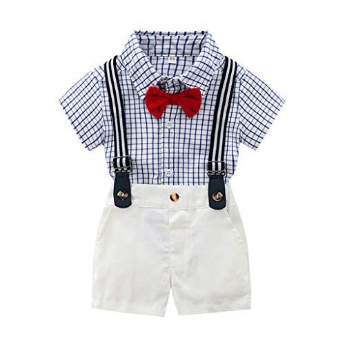 iHAZA Kinder Kurzarm Einfarbig Fliege Kariertes Hemd Shirt + Einfarbig Gurt Shorts Gentleman Anzug